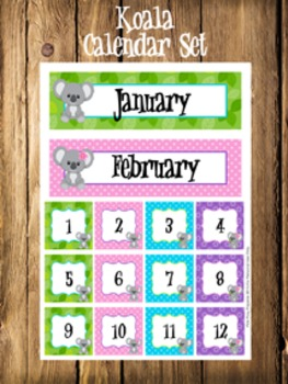 Koala Calendar Set - Months - Days - Numbers