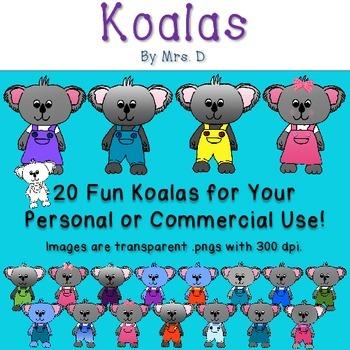 Koalas Clip Art - Commercial Okay