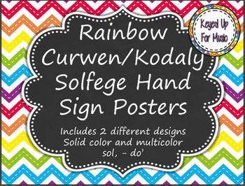 Kodaly/Curwen Hand Sign Posters - Rainbow Chevron Chalkboa