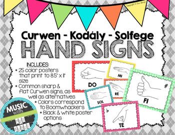 Kodaly / Curwen / Solfege Hand Sign Posters (Argyle, Boomw