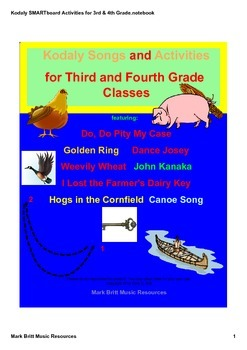 Kodaly SMARTboard Songs & Activities for 3rd and 4th Grade