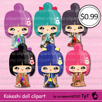 Kokeshi doll,kawaii doll,japanese girl clipart,commercial
