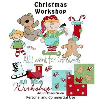 Christmas Workshop Color Clip Art C. Seslar