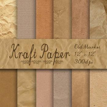 Kraft Digital Paper - Brown Kraft Paper Textures - 8.5x11