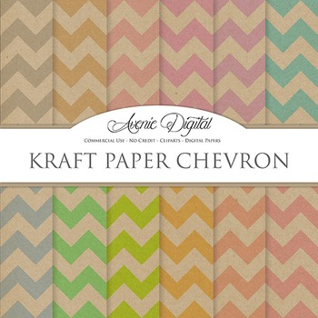 Kraft Paper Background Textures Chevron Digital Paper scra