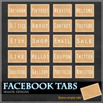 Kraft Paper Facebook Tabs FB Icons Craft Paper Timeline