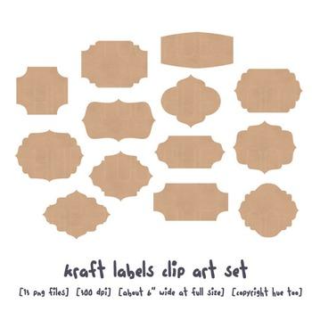 Kraft Paper Labels Clip Art, Brown Paper Digital Frames, f
