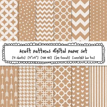 Kraft Paper Patterns Digital Paper Set, Digital Kraft Brow