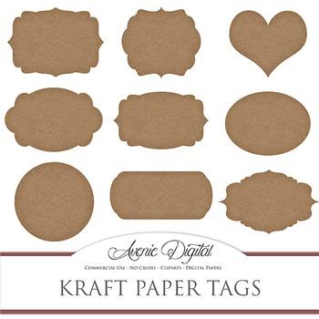 Kraft Paper tags clip art Scrapbook printable vintage brow
