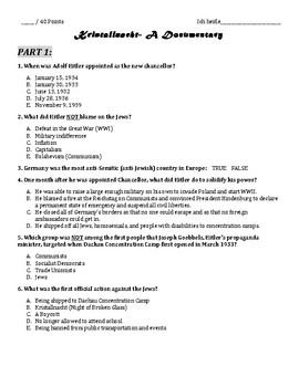 Kristallnacht Video Worksheet to accompany YouTube Documen
