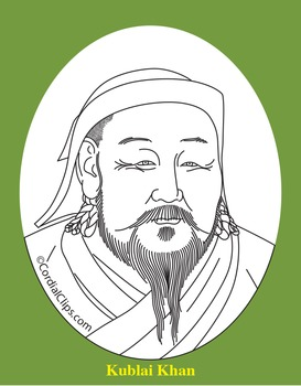 Kublai Khan Clip Art, Coloring Page, or Mini-Poster