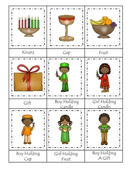 Kwanzaa Holiday themed Three Part Matching preschool print
