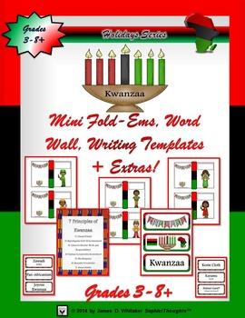 Kwanzaa Mini Fold-Ems, Word Wall, and Writing Templates