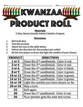 Kwanzaa Product Roll - A 2-Player Math Activity to Practic