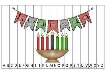Kwanzaa themed Alphabet Sequence Puzzle.  Preschool learni