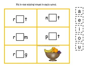 Kwanzaa themed CVC #4 preschool homeschool vowel activity.