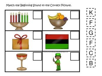 Kwanzaa themed Match the Beginning Sound.  Preschool learn