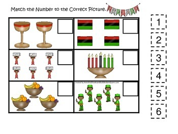 Kwanzaa themed Match the Number preschool educational game