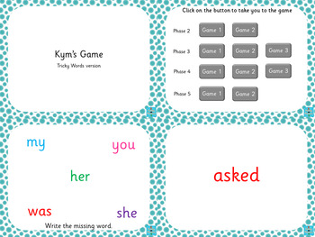 Kym's Game Tricky Words Version (Phases 2-5)