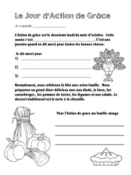 L'Action de Grace (French Thanksgiving activity - Canadian)