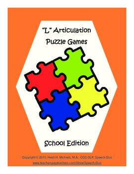 """L"" Articulation Puzzle Pack: School Theme"