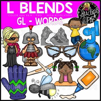 L Blends GL Words Clip Art Bundle