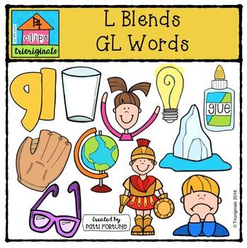 L Blends GL Words {P4 Clips Trioriginals Digital Clip Art}