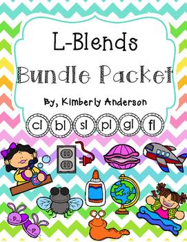 L Blends BUNDLE (3 Centers: Picture Clip Popsicle Cards -1