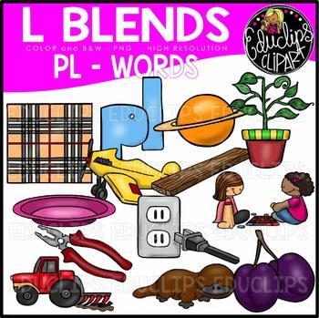 L Blends PL Words Clip Art Bundle {Educlips Clipart}