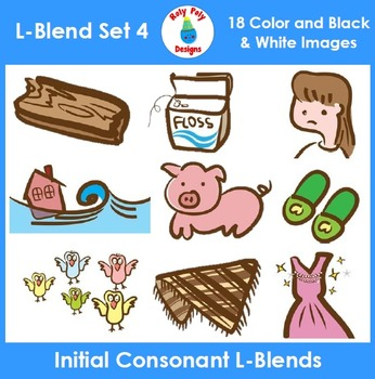 L-Blends Phonics Clip Art Set 4