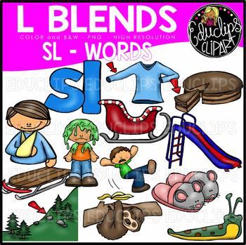 L Blends SL Words Clip Art Bundle {Educlips Clipart}