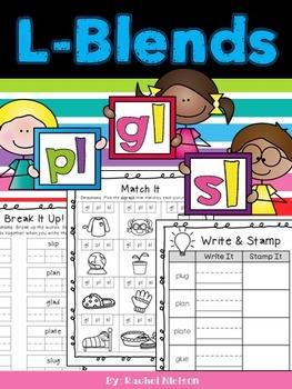 L-Blends (gl, pl, sl) Phonics Worksheets (No Prep)