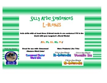 L Consonant Clusters-Fill in the Blank Sentences for Artic