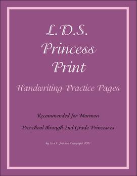 L.D.S. Princess Print Handwriting Practice for PreK, Kinde