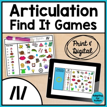 Articulation Game: /l/ I Spy adapted with 3 levels (Speech