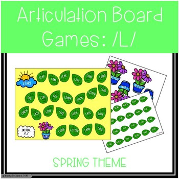 /L/ and /L/-Blends Articulation Board Games - Spring Theme