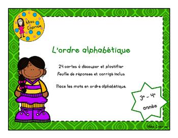 L'ordre alphabétique - 3e année