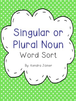 Singular or Plural Noun Word Sort