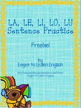 Las Sílabas/Syllables LA, LE, LI, LO, LU Sentence Practice