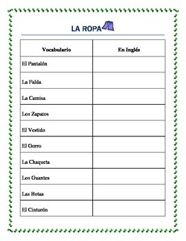 La Ropa -Spanish Clothing- Vocabulary list and interactive