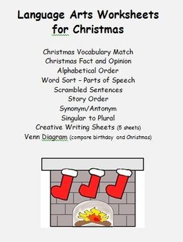 Language Arts Christmas - vocabulary, fact and opinion, pl
