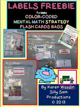 LABELS FREEBIE for Color Coded Mental Math Strategies Flash Cards
