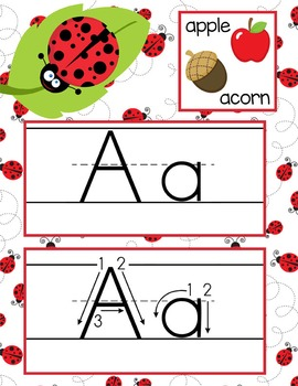 LADY BUGS - Alphabet Cards, Handwriting, Flash Cards, ABC