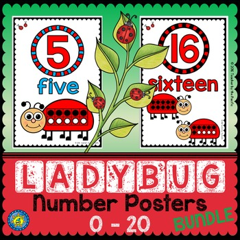 LADYBUG Math Number Posters 0 - 20 {BUNDLE}