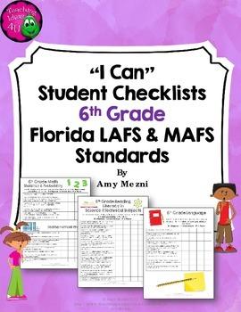 """LAFS & MAFS """"I Can"""" Student Checklists for 6th Grade Flori"""