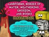 LANDFORMS, BODIES OF WATER, WEATHERING, EROSION, ROCKS BUN