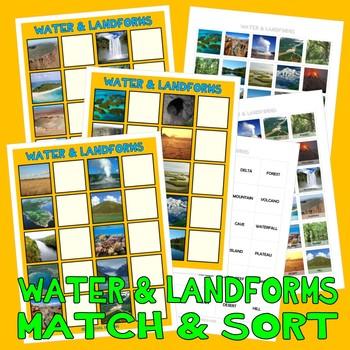 LANDFORMS MaTcH & SoRt w/ 40 PECS Cards : instant digital