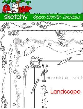LANDSCAPE - Doodle Borders / Frames Space Theme