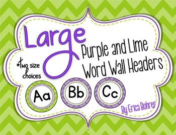 Purple and Lime Word Wall Headers {Two Size Choices}