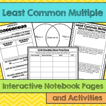 LCM Least Common Multiple  Interactive Notebook